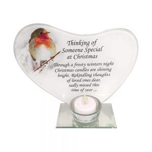 YoL Someone Special Christmas robin glass t-light candle holder memorial tribute