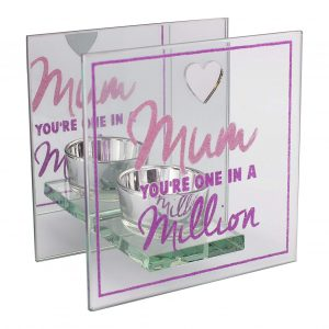 Mum You're One in a Million Glass Tea Light Holder with pink & purple glitter