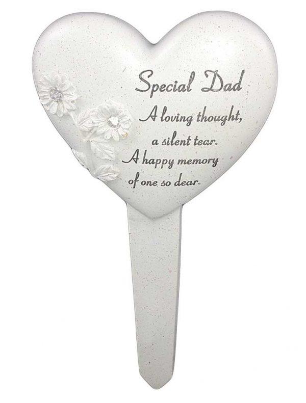 Special Dad Diamante Heart Stake Memorial Item Stone Cream