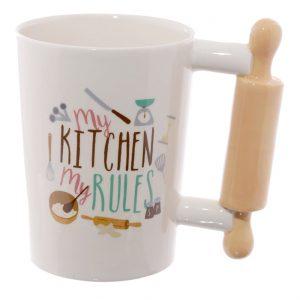Rolling Pin Shaped Handle Mug, My Kitchen My Rules
