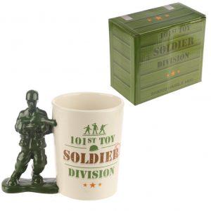 Toy Soldier with Gun Shaped Handle Ceramic Mug
