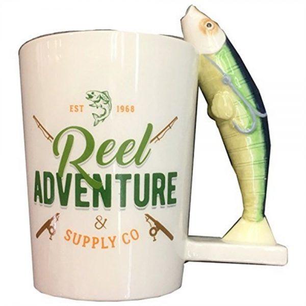 Ceramic Reel Adventure Fishing Shaped Handle Mug with Fish & Hook