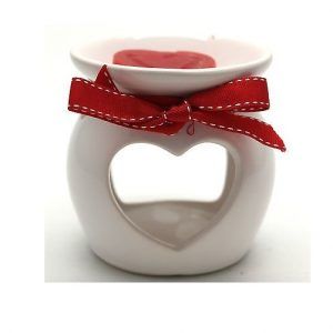 Ceramic Loveheart Oil Burner With Rose Scented Wax Melt