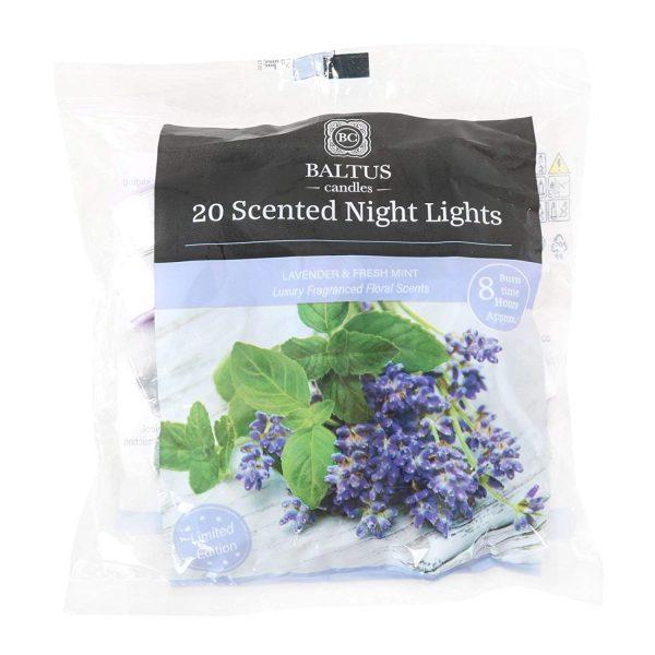 Baltus Pack of 20 Tealight With Lavender & Fresh Mint Fragrance -8hr Burn Time