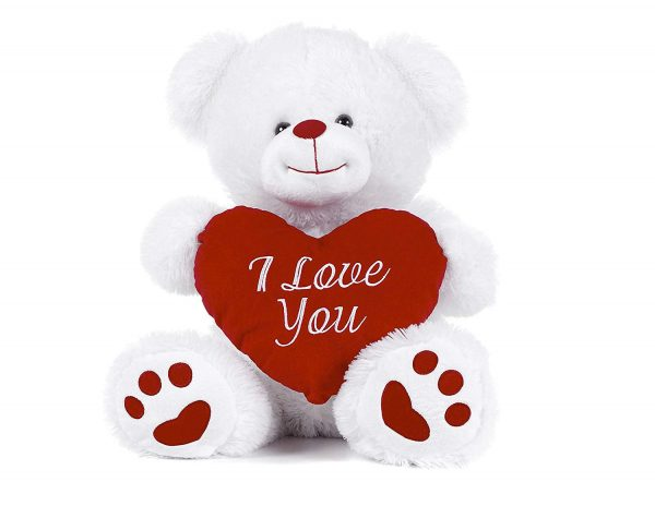 """White Teddy Bear holding Red Heart with I Love You written on it White 10.5"""""""