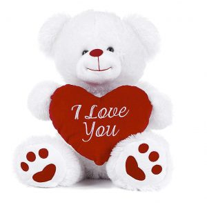 White Teddy Bear holding Red Heart with I Love You written on it White 17.5""