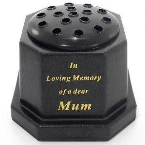 Black topped In loving memory of a dear Mum memorial pot