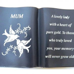 Mum Slate Grey Memorial Book – Dove & Diamante Detail – Grave Plaque Ornament Tribute