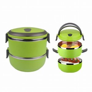 2 Layer Tier Stainless Steel Square Food Container Bento Lunch Box Portable (Green)