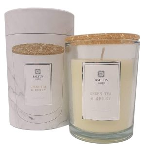 Baltus Premium GREEN TEA & BERRY Scented Glass Jar Candle - Green Tea & Berry 198g