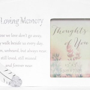 Thoughts of you In Loving Memory Memorial Wooden Photo Frame with Sentimental Verse