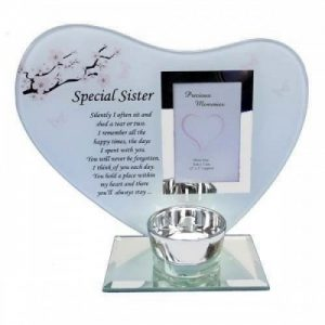 Special Sister Memorial Candle Holder Glass Family Decoration