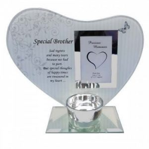Brother Memorial Heart Plaque and T-Light Plaque Silver Glass