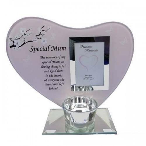 Glass Photo Frame Special Mum Memorial Candle Holder