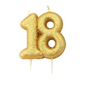 Anniversary House Gold Glitter Numeral Moulded Cake Candle No18