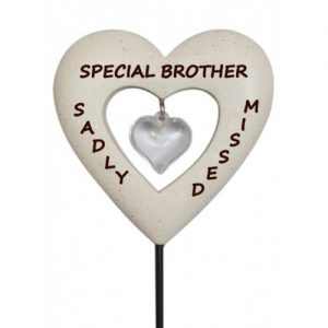 Brother Memorial Love Heart Stick Graveside Ornament