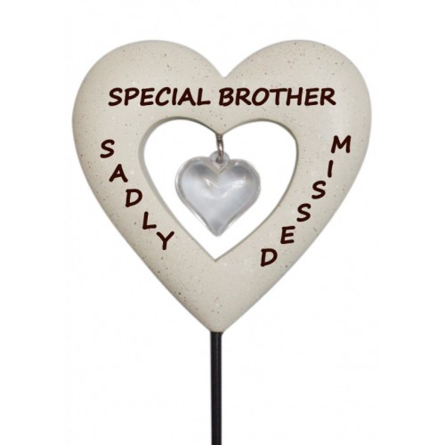 Brother Memorial Love Heart Stick Graveside Ornament