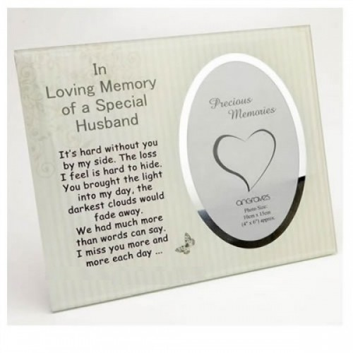 Husband Memorial Glass Mirror Photo Frame
