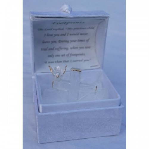 Glass Cross With Peace Dove And Footprints Glass Vesre