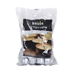 Baltus Pack Of 50 Unscented Wax Tealights Candles 8 Hour Burn Time
