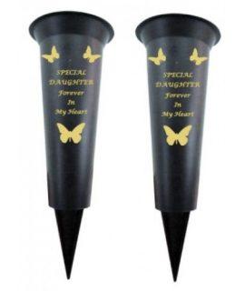 Set of 2 Butterfly Daughter memorial Graveside spiked Flower vase