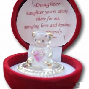 Gift Box for Daughter Glass Bear in Always There For me crystals