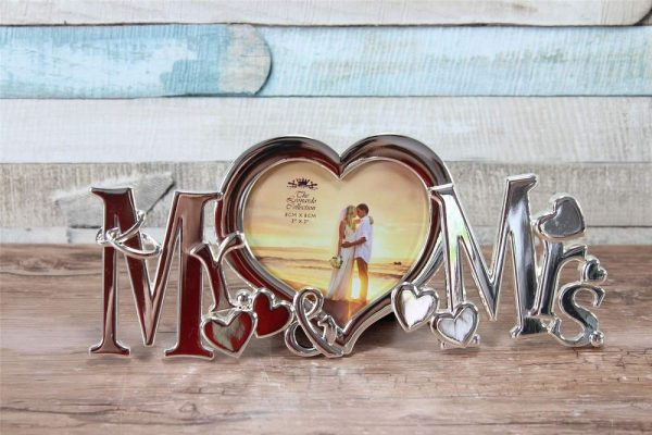 Mr & Mrs Silver Colored Chrome Metal Wedding Photo Frame Gift