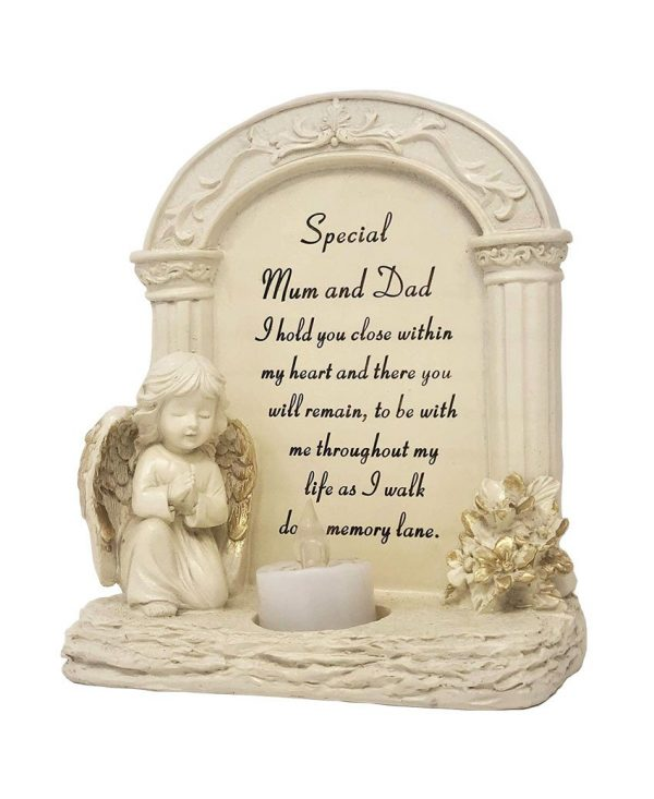 David Fischhoff Set of 2 Special Mum and Dad Praying Angel with Flickering Tealight Graveside Memorial Plaque