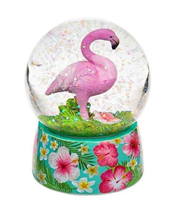 Original Pretty Pink Flamingo Snow Globe Ornament with Gorgeous Flowery Base