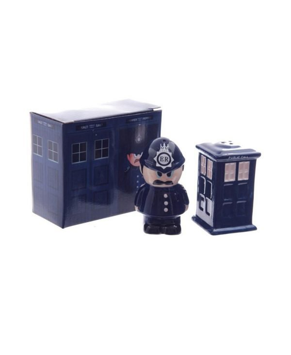 Set of 2 Ceramic Policeman and Police Box Salt and Pepper Set Ideal Gift for The Home