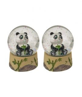 Set of 2 Original Pretty Out of the Blue Baby Sitting Panda Bear Glitter Snow Globe Ornament