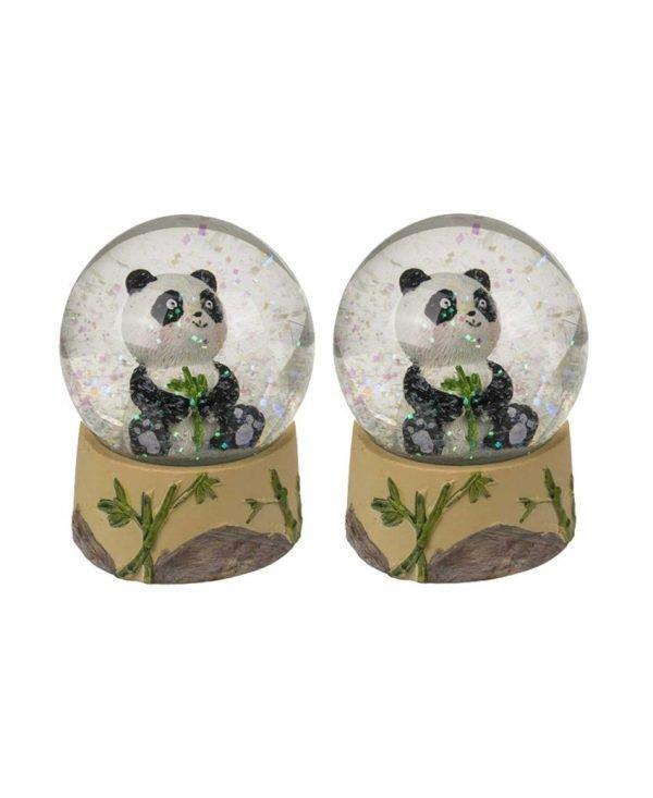 Set of 2 Original Pretty Out of the Blue Baby Sitting Panda Bear Glitter Snow Globe Ornament