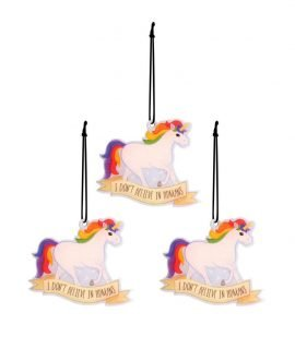Set of 3 Fun Air Freshener Sparkle Berry Fragranced Unicorn Great for Car Office Home Gym Locker