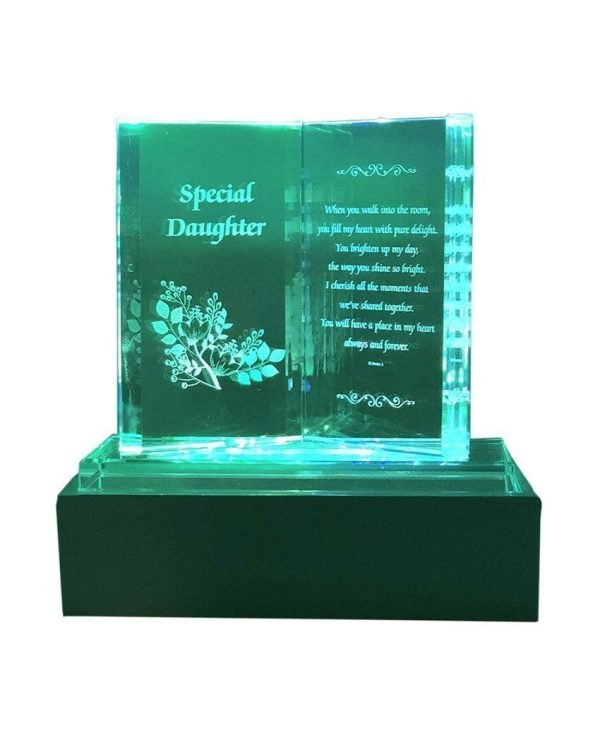Special Daughter Crystal Glass Colourfull Lights Memorial Plaque with LED Stand Gift Ornaments, Ideal for Mother's Day, Birthday, Christmas and Wedding Anniversary