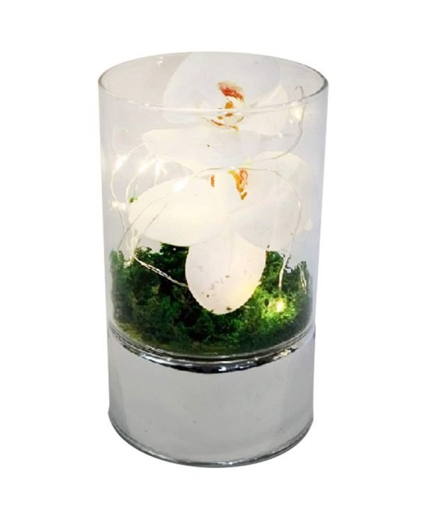 Small Led Glass Tube Vase with Artificial Flowers